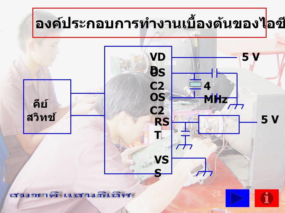 VD D คีย์ สวิทช์ องค์ประกอบการทำงานเบื้องต้นของไอซีไมโครคอมพิวเตอร์ OS C2 RS T VS S 5 V 4 MHz 5 V