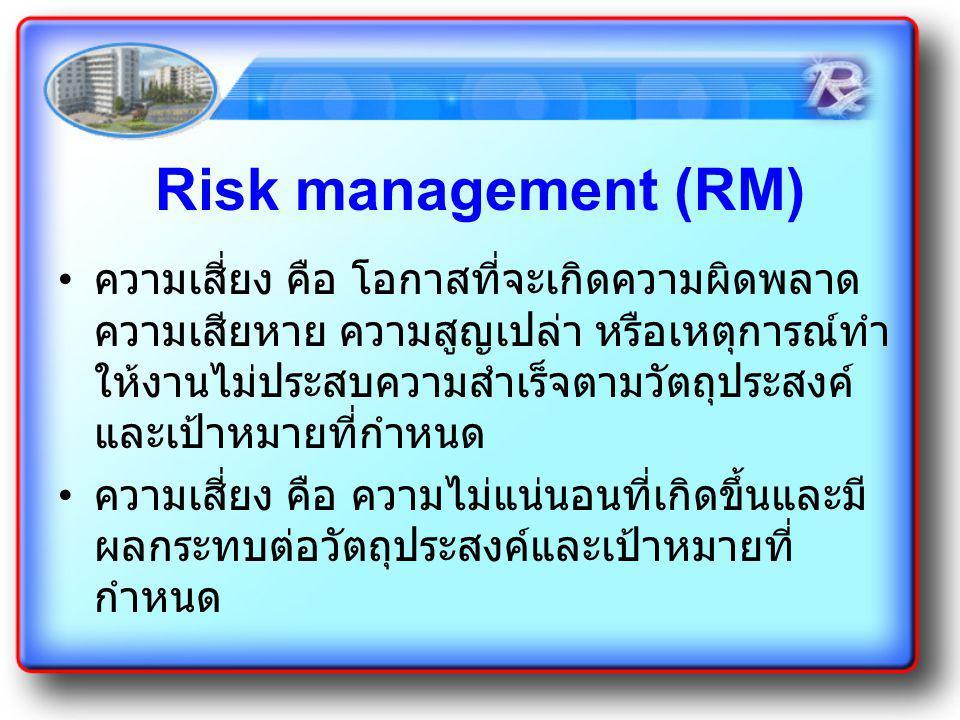 Risk management (RM) ความเสี่ยง คือ โอกาสที่จะเกิดความผิดพลาด ความเสียหาย ความสูญเปล่า หรือเหตุการณ์ทำ ให้งานไม่ประสบความสำเร็จตามวัตถุประสงค์ และเป้า
