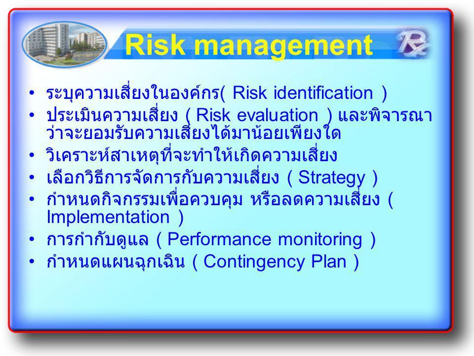 Risk management ระบุความเสี่ยงในองค์กร ( Risk identification ) ประเมินความเสี่ยง ( Risk evaluation ) และพิจารณา ว่าจะยอมรับความเสี่ยงได้มาน้อยเพียงใด