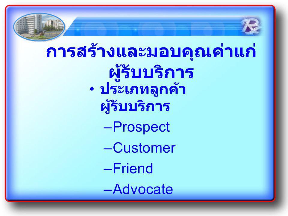 การสร้างและมอบคุณค่าแก่ ผู้รับบริการ ประเภทลูกค้า ผู้รับบริการ –Prospect –Customer –Friend –Advocate
