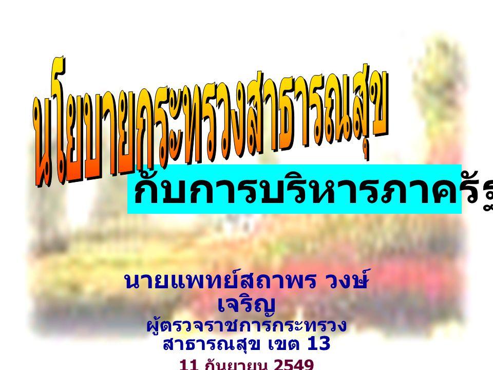 2 กับการบริหารภาครัฐแนวใหม่ นายแพทย์สถาพร วงษ์ เจริญ ผู้ตรวจราชการกระทรวง สาธารณสุข เขต 13 11 กันยายน 2549 ณ โรงแรมแม่น้ำ กรุงเทพมหานคร