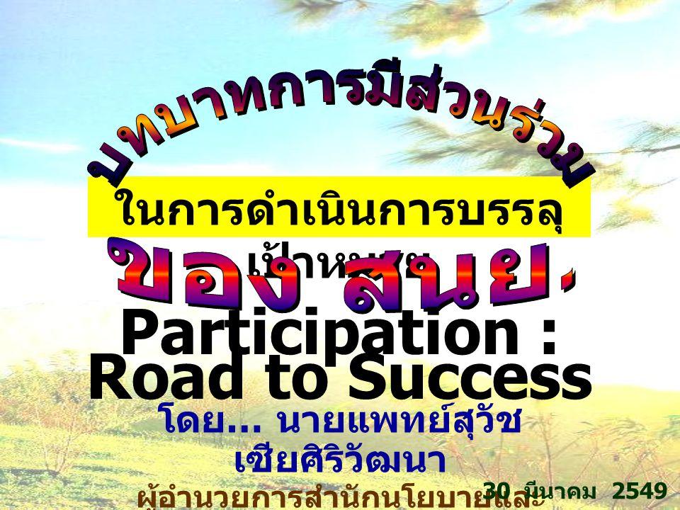 ในการดำเนินการบรรลุ เป้าหมาย โดย … นายแพทย์สุวัช เซียศิริวัฒนา ผู้อำนวยการสำนักนโยบายและ ยุทธศาสตร์ 30 มีนาคม 2549 Participation : Road to Success