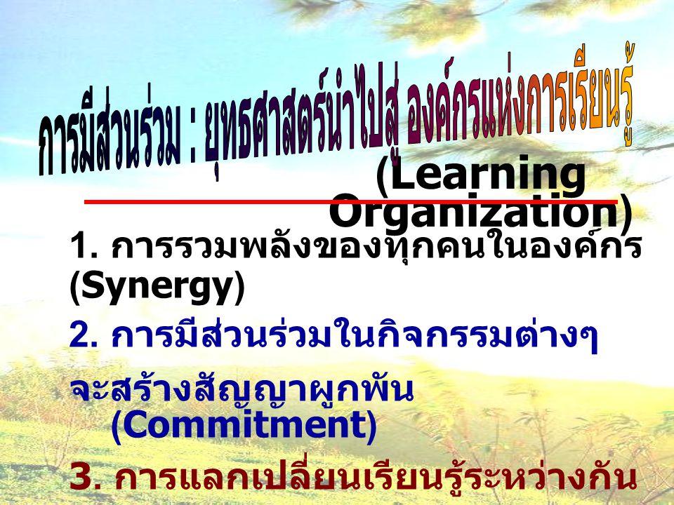 (Learning Organization) 1. การรวมพลังของทุกคนในองค์กร (Synergy) 2. การมีส่วนร่วมในกิจกรรมต่างๆ จะสร้างสัญญาผูกพัน (Commitment) 3. การแลกเปลี่ยนเรียนรู