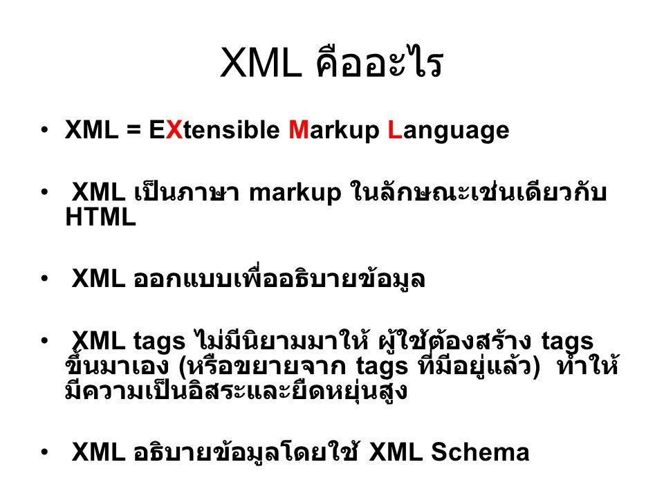 XML คืออะไร XML = EXtensible Markup Language XML เป็นภาษา markup ในลักษณะเช่นเดียวกับ HTML XML ออกแบบเพื่ออธิบายข้อมูล XML tags ไม่มีนิยามมาให้ ผู้ใช้