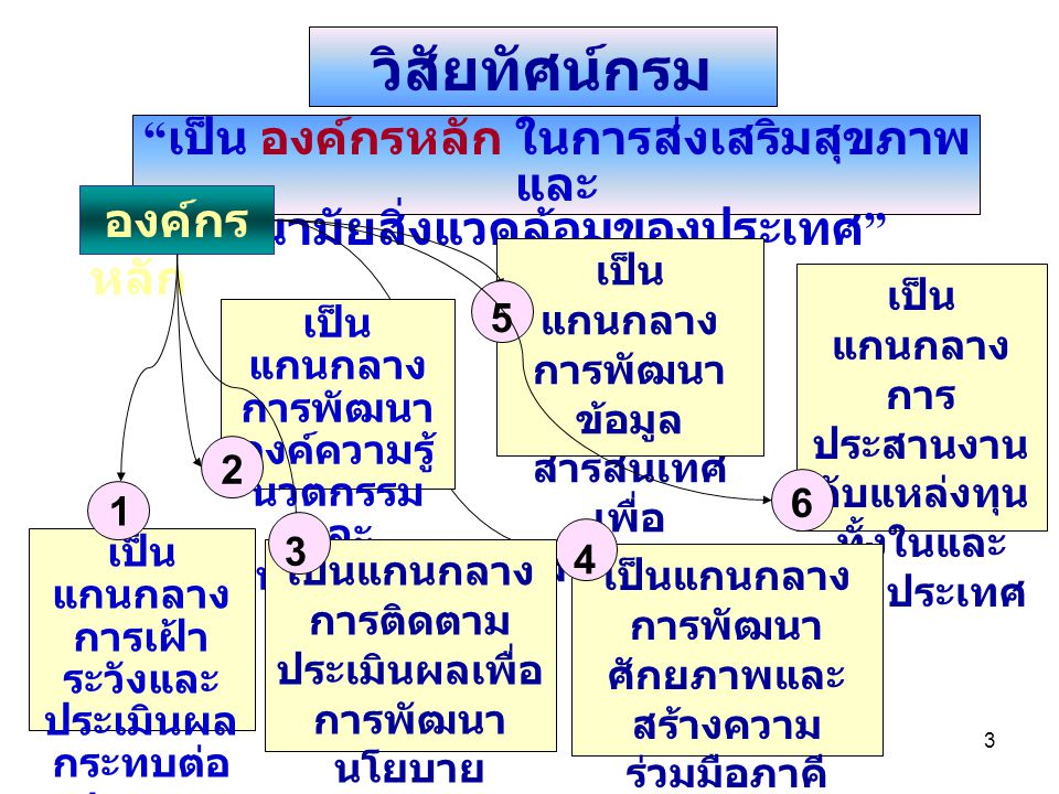 4 Information Knowledge Consumer Protection Provider Support Funder Alliance Healthy People Healthy Thailand R & D Surveillances Management M & E Human Resource Development Six Key Functions to High Performance Organization Organization Development