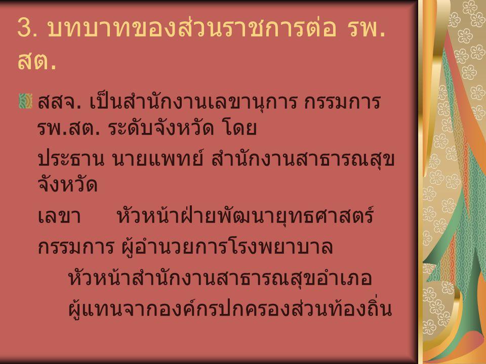 3.บทบาทของส่วนราชการต่อ รพ. สต. รพศ / รพท.