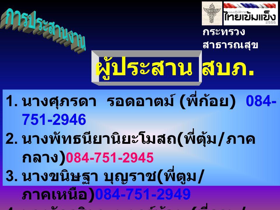 กระทรวง สาธารณสุข 1. นางศุภรดา รอดอาตม์ ( พี่ก้อย ) 084- 751-2946 2.