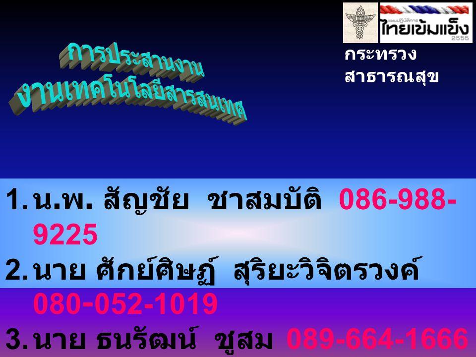 กระทรวง สาธารณสุข 1. น. พ. สัญชัย ชาสมบัติ 086-988- 9225 2.