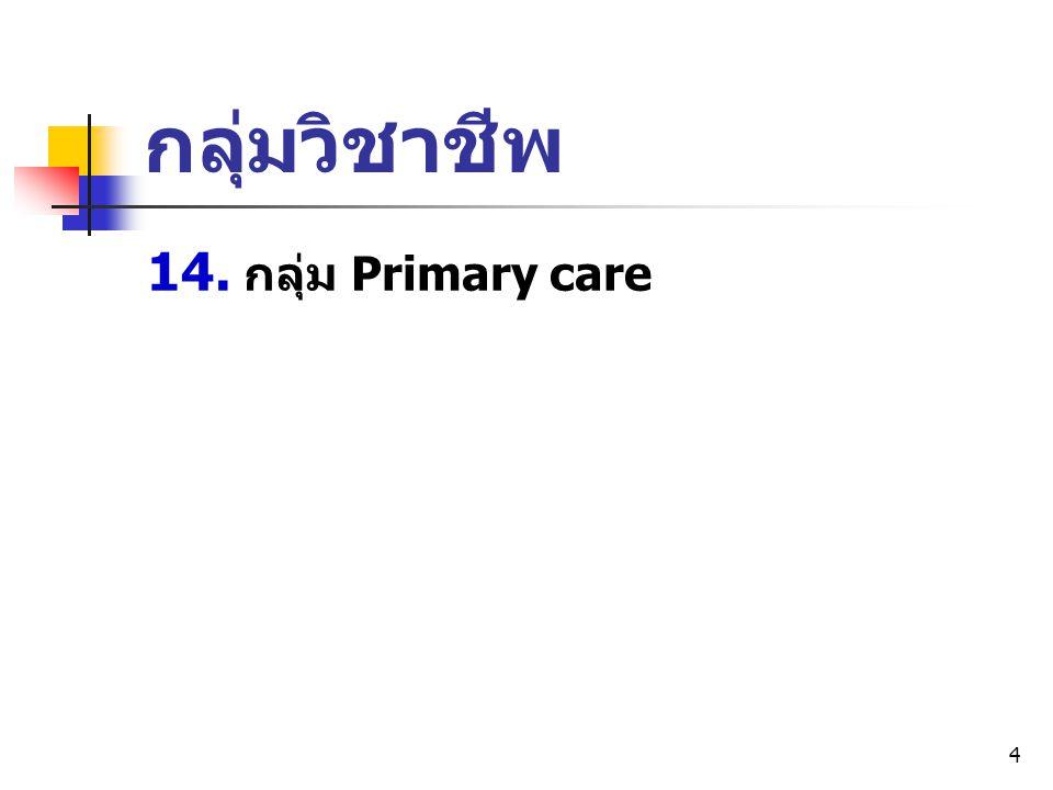 4 14. กลุ่ม Primary care กลุ่มวิชาชีพ