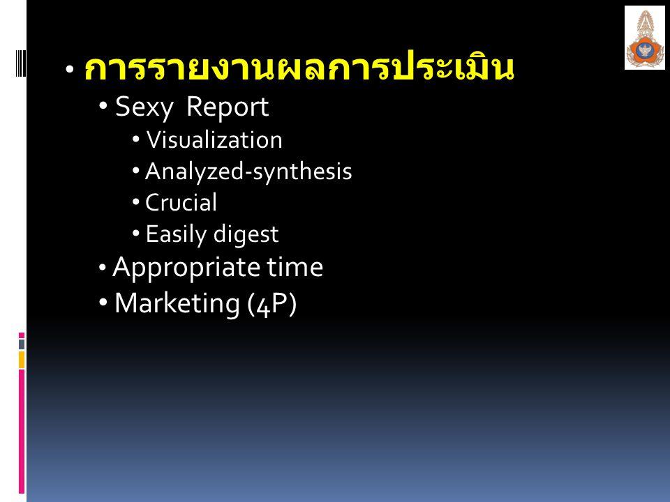 การรายงานผลการประเมิน การรายงานผลการประเมิน Sexy Report Sexy Report Visualization Visualization Analyzed-synthesis Analyzed-synthesis Crucial Crucial