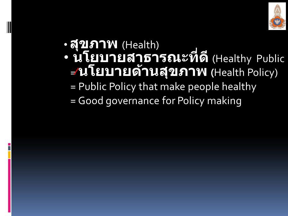 สุขภาพ (Health) นโยบายสาธารณะที่ดี นโยบายสาธารณะที่ดี (Healthy Public Policy) = นโยบายด้านสุขภาพ (Health Policy) = Public Policy that make people heal