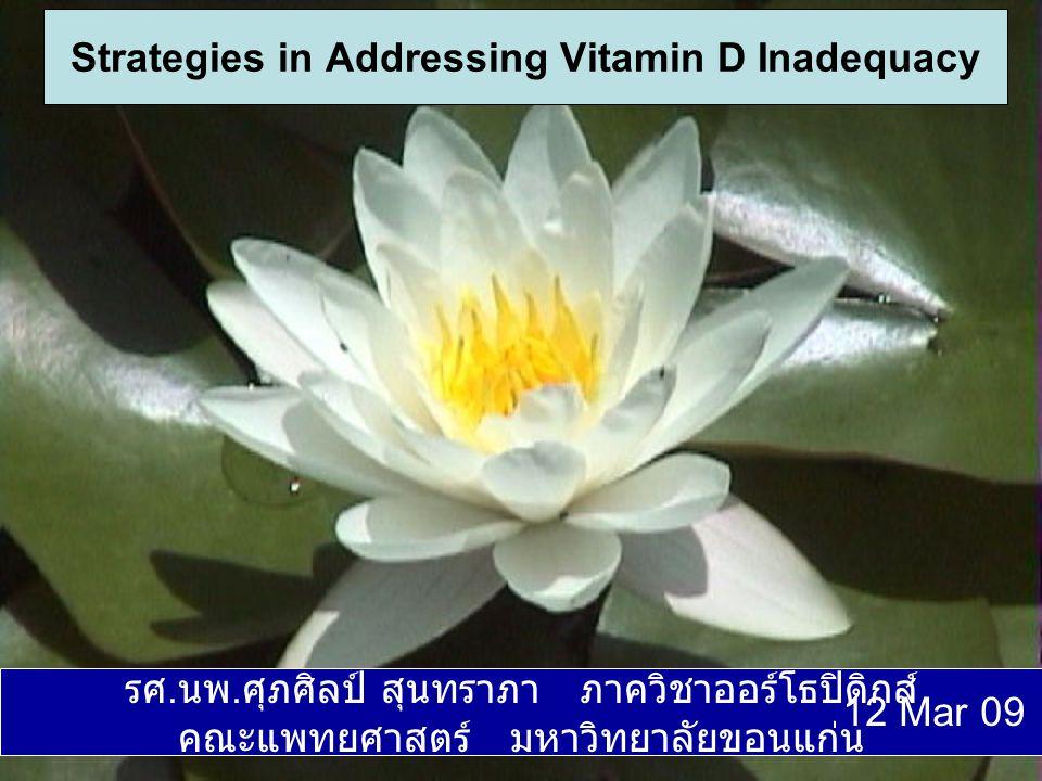 ประเทศไทยตั้งอยู่ในช่วงเส้นรุ้งที่ 4-20 องศาเหนือ ซึ่งเป็นบริเวณที่ได้รับ แสงแดดจ้าทั้งปี แพทย์ส่วนใหญ่จึง เชื่อว่าคนไทยควรจะได้รับแสงแดด เพียงพอ ด้วยเหตุนี้จึงเชื่อว่าคนไทยไม่ ควรจะขาดวิตามินดี ประเทศไทยตั้งอยู่ในช่วงเส้นรุ้งที่ 4-20 องศาเหนือ ซึ่งเป็นบริเวณที่ได้รับ แสงแดดจ้าทั้งปี แพทย์ส่วนใหญ่จึง เชื่อว่าคนไทยควรจะได้รับแสงแดด เพียงพอ ด้วยเหตุนี้จึงเชื่อว่าคนไทยไม่ ควรจะขาดวิตามินดี การเสริมวิตามินดีไม่มีความจำเป็นใน ผู้ป่วยโรคกระดูกพรุน การเสริมวิตามินดีไม่มีความจำเป็นใน ผู้ป่วยโรคกระดูกพรุน ความเชื่อนี้มีความเป็นจริงมากน้อย เพียงใด .