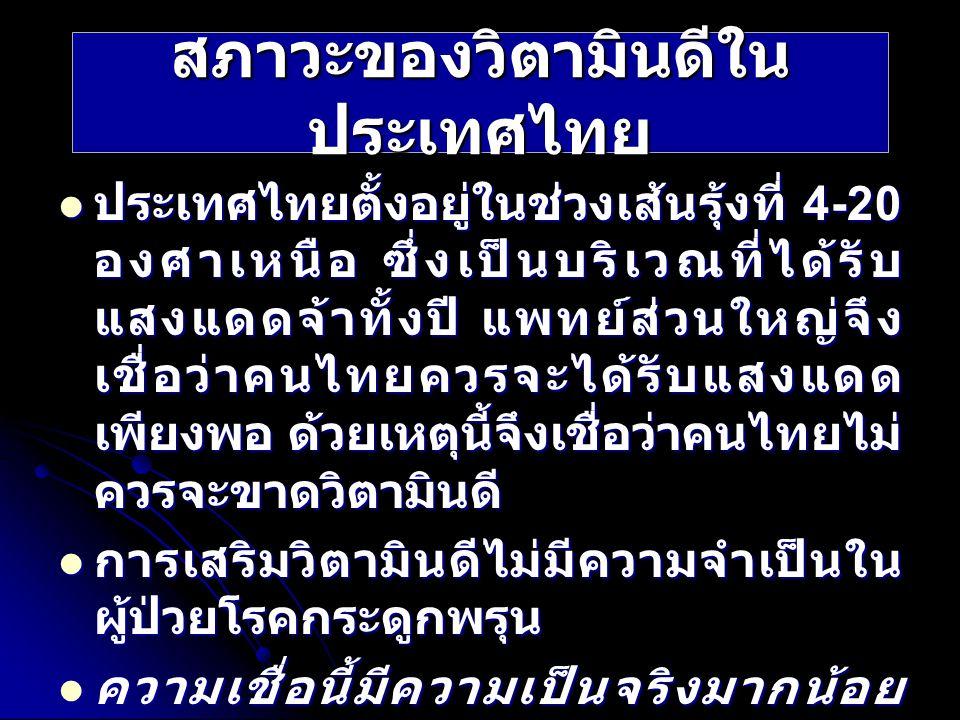 ประเทศไทยตั้งอยู่ในช่วงเส้นรุ้งที่ 4-20 องศาเหนือ ซึ่งเป็นบริเวณที่ได้รับ แสงแดดจ้าทั้งปี แพทย์ส่วนใหญ่จึง เชื่อว่าคนไทยควรจะได้รับแสงแดด เพียงพอ ด้วย