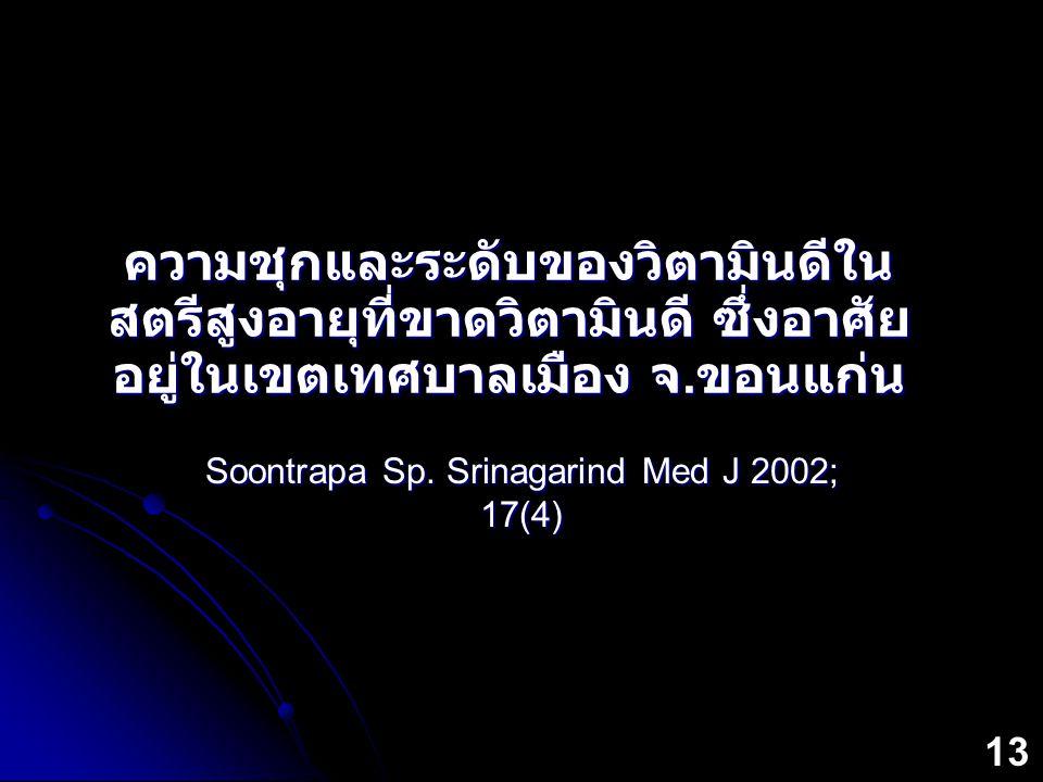 ความชุกและระดับของวิตามินดีใน สตรีสูงอายุที่ขาดวิตามินดี ซึ่งอาศัย อยู่ในเขตเทศบาลเมือง จ. ขอนแก่น Soontrapa Sp. Srinagarind Med J 2002; 17(4) 13