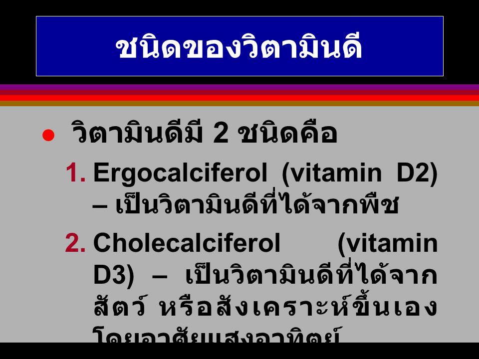 ชนิดของวิตามินดี วิตามินดีมี 2 ชนิดคือ 1.Ergocalciferol (vitamin D2) – เป็นวิตามินดีที่ได้จากพืช 2.Cholecalciferol (vitamin D3) – เป็นวิตามินดีที่ได้จ