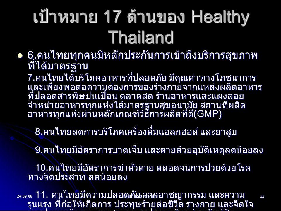 24-09-08health measurement22 6. คนไทยทุกคนมีหลักประกันการเข้าถึงบริการสุขภาพ ที่ได้มาตรฐาน 6. คนไทยทุกคนมีหลักประกันการเข้าถึงบริการสุขภาพ ที่ได้มาตรฐ