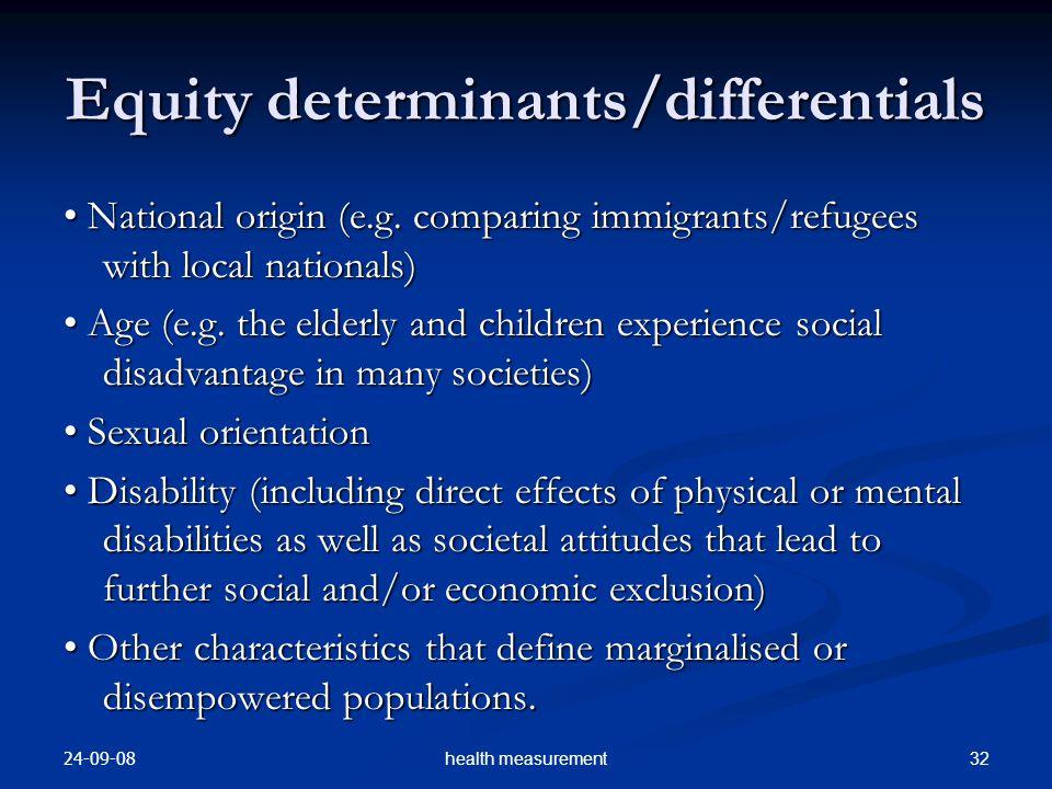 24-09-08 32health measurement Equity determinants/differentials National origin (e.g.