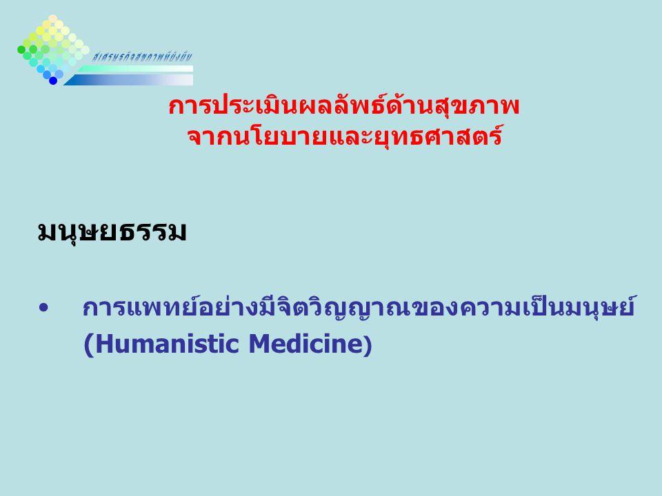 การประเมินผลลัพธ์ด้านสุขภาพ จากนโยบายและยุทธศาสตร์ มนุษยธรรม การแพทย์อย่างมีจิตวิญญาณของความเป็นมนุษย์ (Humanistic Medicine )