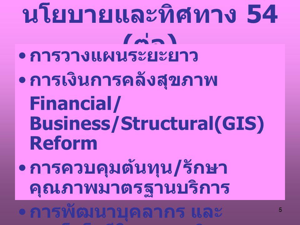 5 นโยบายและทิศทาง 54 ( ต่อ ) การวางแผนระยะยาว การเงินการคลังสุขภาพ Financial/ Business/Structural(GIS) Reform การควบคุมต้นทุน / รักษา คุณภาพมาตรฐานบริการ การพัฒนาบุคลากร และ เทคโนโลยีในสถานบริการ การศึกษาวิจัยในงานประจำ