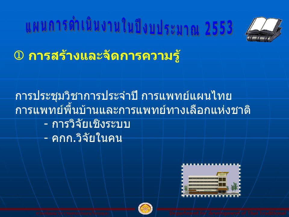  การสร้างและจัดการความรู้ Department for development of Thai Traditional and Alternative Medicine กรมพัฒนาการแพทย์แผนไทยและ การแพทย์ทางเลือก การประชุ