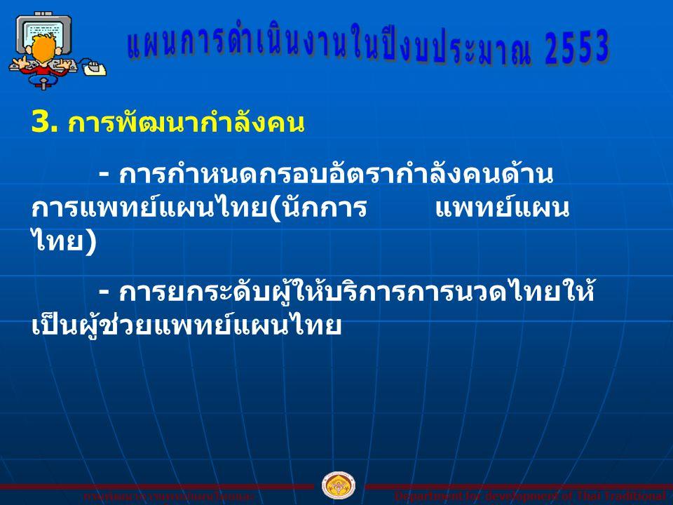 3. การพัฒนากำลังคน - การกำหนดกรอบอัตรากำลังคนด้าน การแพทย์แผนไทย ( นักการแพทย์แผน ไทย ) - การยกระดับผู้ให้บริการการนวดไทยให้ เป็นผู้ช่วยแพทย์แผนไทย De