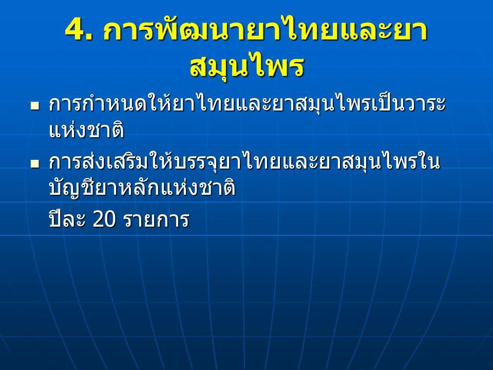 การกำหนดให้ยาไทยและยาสมุนไพรเป็นวาระ แห่งชาติ การกำหนดให้ยาไทยและยาสมุนไพรเป็นวาระ แห่งชาติ การส่งเสริมให้บรรจุยาไทยและยาสมุนไพรใน บัญชียาหลักแห่งชาติ