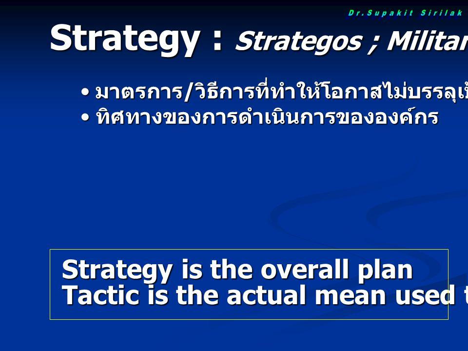 Strategy : Strategos ; Military commander (Greek) Strategy is the overall plan Tactic is the actual mean used to achieve a goal มาตรการ / วิธีการที่ทำให้โอกาสไม่บรรลุเป้าประสงค์น้อยที่สุด มาตรการ / วิธีการที่ทำให้โอกาสไม่บรรลุเป้าประสงค์น้อยที่สุด ทิศทางของการดำเนินการขององค์กร ทิศทางของการดำเนินการขององค์กร