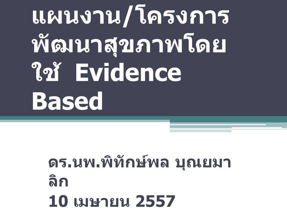 การจัดทำ ยุทธศาสตร์ / แผนงาน / โครงการ พัฒนาสุขภาพโดย ใช้ Evidence Based ดร. นพ. พิทักษ์พล บุณยมา ลิก 10 เมษายน 2557