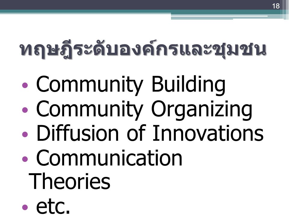 ทฤษฎีระดับองค์กรและชุมชน Community Building Community Organizing Diffusion of Innovations Communication Theories etc. 18