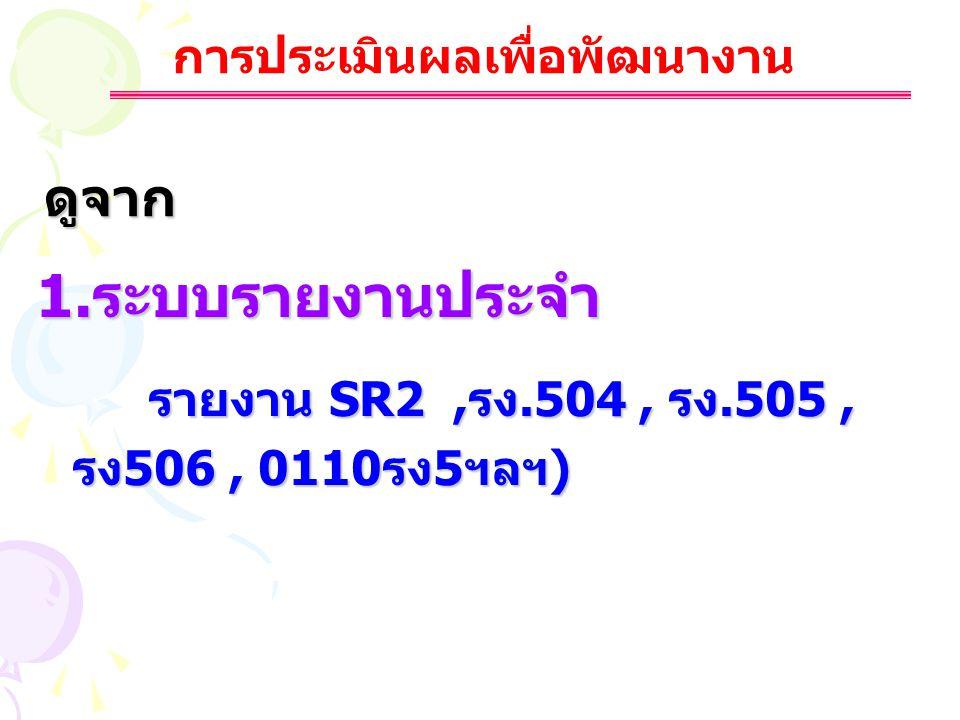 การประเมินผลเพื่อพัฒนางาน ดูจาก 1.ระบบรายงานประจำ รายงาน SR2,รง.504, รง.505, รายงาน SR2,รง.504, รง.505, รง506, 0110รง5ฯลฯ) รง506, 0110รง5ฯลฯ)