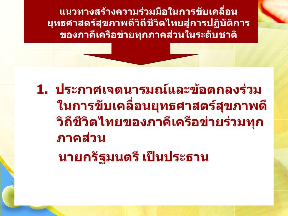 1. ประกาศเจตนารมณ์และข้อตกลงร่วม ในการขับเคลื่อนยุทธศาสตร์สุขภาพดี วิถีชีวิตไทยของภาคีเครือข่ายร่วมทุก ภาคส่วน นายกรัฐมนตรี เป็นประธาน แนวทางสร้างความ