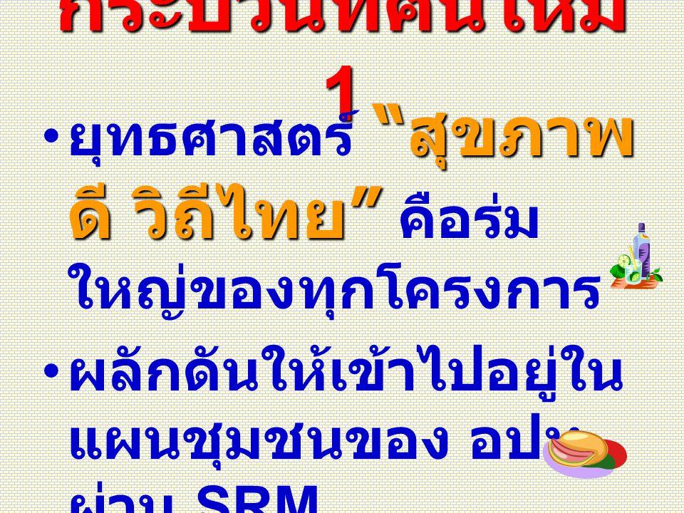 """กระบวนทัศน์ใหม่ 1 """" สุขภาพ ดี วิถีไทย """" ยุทธศาสตร์ """" สุขภาพ ดี วิถีไทย """" คือร่ม ใหญ่ของทุกโครงการ ผลักดันให้เข้าไปอยู่ใน แผนชุมชนของ อปท. ผ่าน SRM. ต้"""