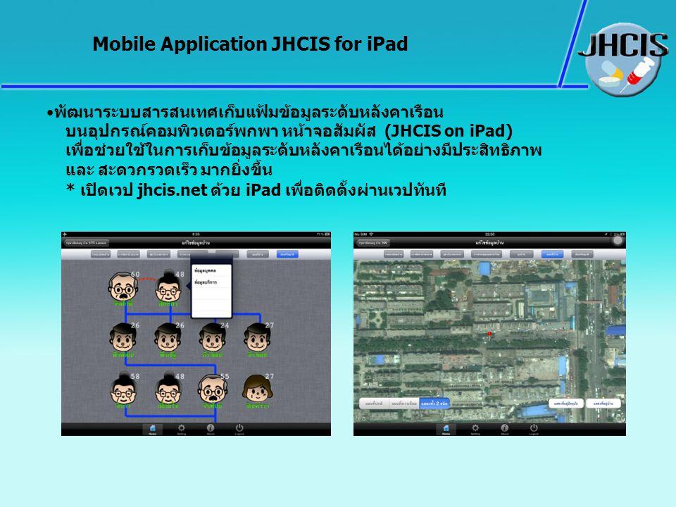 พัฒนาระบบสารสนเทศเก็บแฟ้มข้อมูลระดับหลังคาเรือน บนอุปกรณ์คอมพิวเตอร์พกพา หน้าจอสัมผัส (JHCIS on iPad) เพื่อช่วยใช้ในการเก็บข้อมูลระดับหลังคาเรือนได้อย