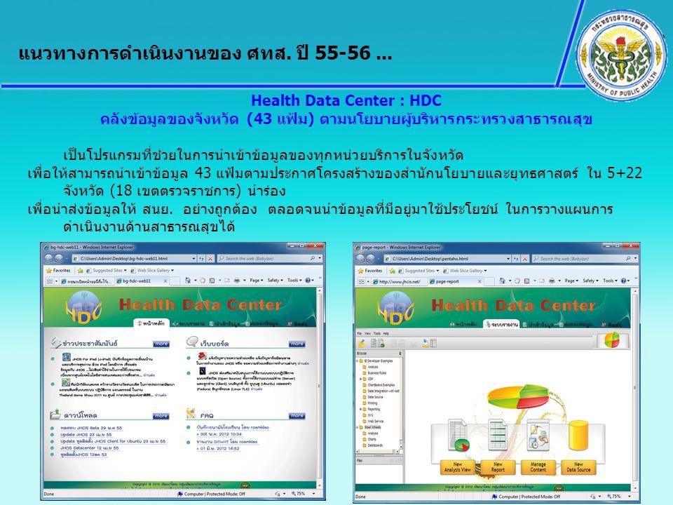 Health Data Center : HDC คลังข้อมูลของจังหวัด (43 แฟ้ม) ตามนโยบายผู้บริหารกระทรวงสาธารณสุข เป็นโปรแกรมที่ช่วยในการนำเข้าข้อมูลของทุกหน่วยบริการในจังหว