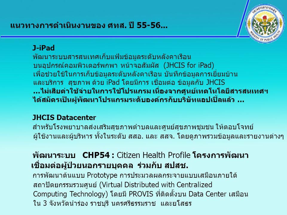J-iPad พัฒนาระบบสารสนเทศเก็บแฟ้มข้อมูลระดับหลังคาเรือน บนอุปกรณ์คอมพิวเตอร์พกพา หน้าจอสัมผัส (JHCIS for iPad) เพื่อช่วยใช้ในการเก็บข้อมูลระดับหลังคาเร