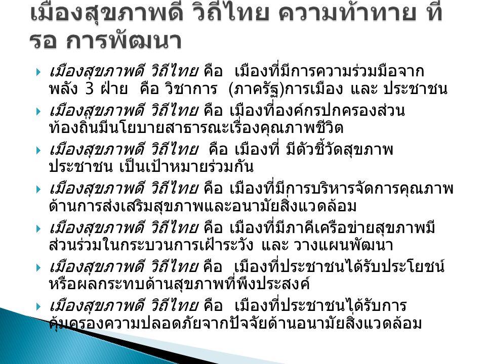  เมืองสุขภาพดี วิถีไทย คือ เมืองที่มีการความร่วมมือจาก พลัง 3 ฝ่าย คือ วิชาการ ( ภาครัฐ ) การเมือง และ ประชาชน  เมืองสุขภาพดี วิถีไทย คือ เมืองที่องค์กรปกครองส่วน ท้องถิ่นมีนโยบายสาธารณะเรื่องคุณภาพชีวิต  เมืองสุขภาพดี วิถีไทย คือ เมืองที่ มีตัวชี้วัดสุขภาพ ประชาชน เป็นเป้าหมายร่วมกัน  เมืองสุขภาพดี วิถีไทย คือ เมืองที่มีการบริหารจัดการคุณภาพ ด้านการส่งเสริมสุขภาพและอนามัยสิ่งแวดล้อม  เมืองสุขภาพดี วิถีไทย คือ เมืองที่มีภาคีเครือข่ายสุขภาพมี ส่วนร่วมในกระบวนการเฝ้าระวัง และ วางแผนพัฒนา  เมืองสุขภาพดี วิถีไทย คือ เมืองที่ประชาชนได้รับประโยชน์ หรือผลกระทบด้านสุขภาพที่พึงประสงค์  เมืองสุขภาพดี วิถีไทย คือ เมืองที่ประชาชนได้รับการ คุ้มครองความปลอดภัยจากปัจจัยด้านอนามัยสิ่งแวดล้อม