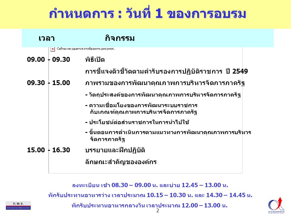 2 เวลากิจกรรม กำหนดการ : วันที่ 1 ของการอบรม 09.00 - 09.30พิธีเปิด การชี้แจงตัวชี้วัดตามคำรับรองการปฏิบัติราชการ ปี 2549 09.30 - 15.00ภาพรวมของการพัฒน