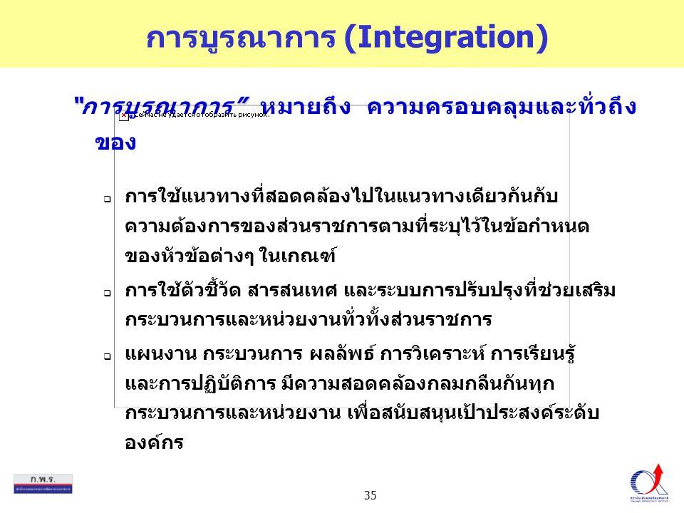 """35 การบูรณาการ (Integration) """""""" """"การบูรณาการ"""" หมายถึง ความครอบคลุมและทั่วถึง ของ  การใช้แนวทางที่สอดคล้องไปในแนวทางเดียวกันกับ ความต้องการของส่วนราชก"""