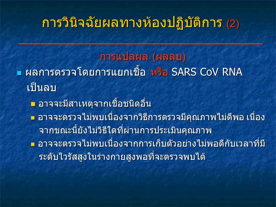 การวินิจฉัยผลทางห้องปฏิบัติการ (2) การแปลผล (ผลลบ) ผลการตรวจโดยการแยกเชื้อ หรือ SARS CoV RNA ผลการตรวจโดยการแยกเชื้อ หรือ SARS CoV RNA เป็นลบ เป็นลบ อ