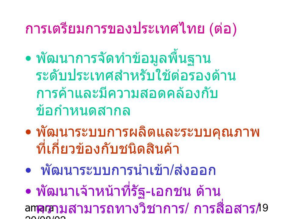 amara 20/08/02 19 การเตรียมการของประเทศไทย ( ต่อ ) พัฒนาการจัดทำข้อมูลพื้นฐาน ระดับประเทศสำหรับใช้ต่อรองด้าน การค้าและมีความสอดคล้องกับ ข้อกำหนดสากล พ
