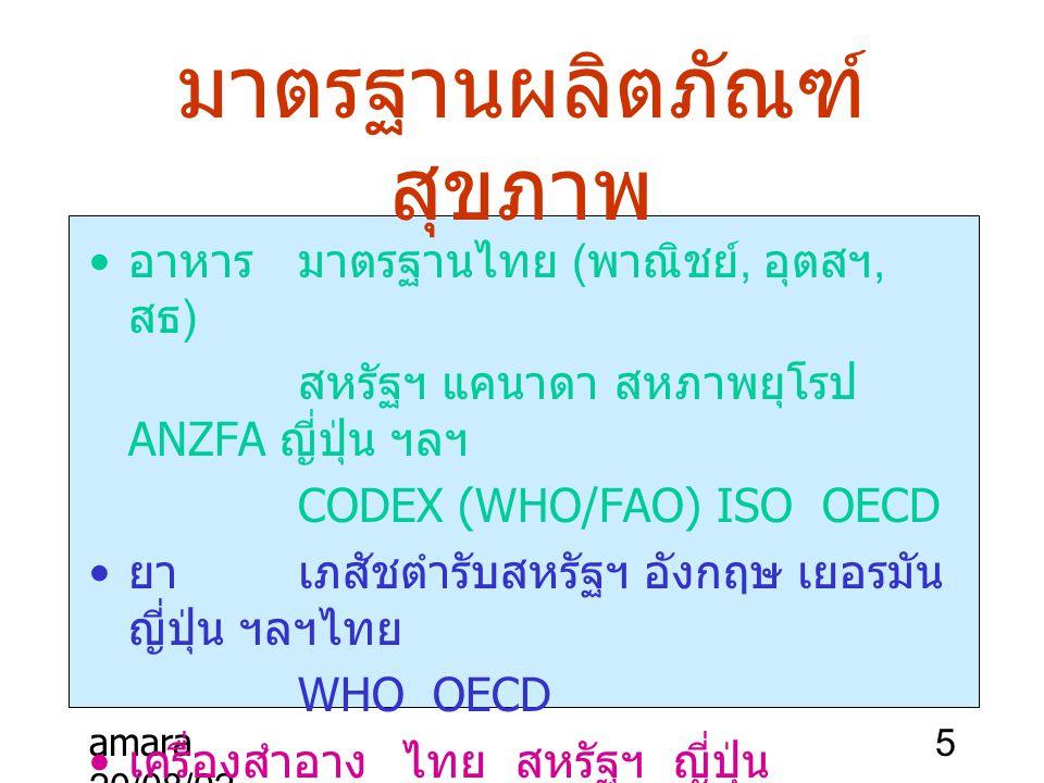amara 20/08/02 5 มาตรฐานผลิตภัณฑ์ สุขภาพ อาหารมาตรฐานไทย ( พาณิชย์, อุตสฯ, สธ ) สหรัฐฯ แคนาดา สหภาพยุโรป ANZFA ญี่ปุ่น ฯลฯ CODEX (WHO/FAO) ISO OECD ยา