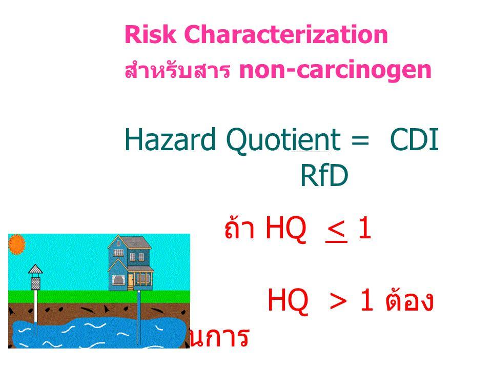 Risk Characterization สำหรับสาร non-carcinogen Hazard Quotient = CDI RfD ถ้า HQ < 1 OK HQ > 1 ต้อง ดำเนินการ
