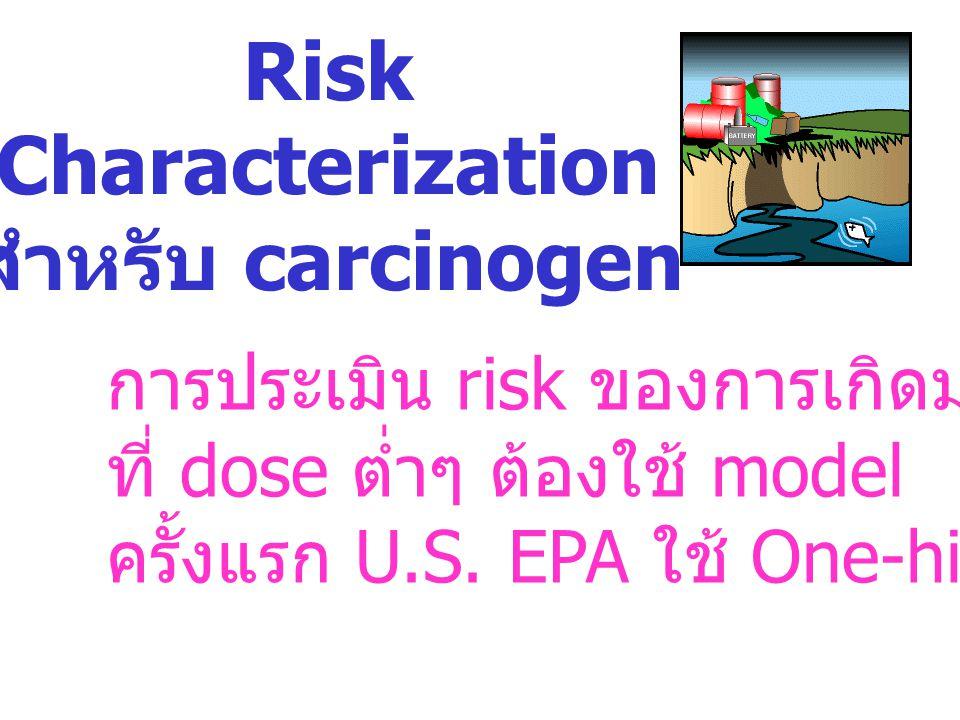 Risk Characterization สำหรับ carcinogen การประเมิน risk ของการเกิดมะเร็ง ที่ dose ต่ำๆ ต้องใช้ model ครั้งแรก U.S. EPA ใช้ One-hit model