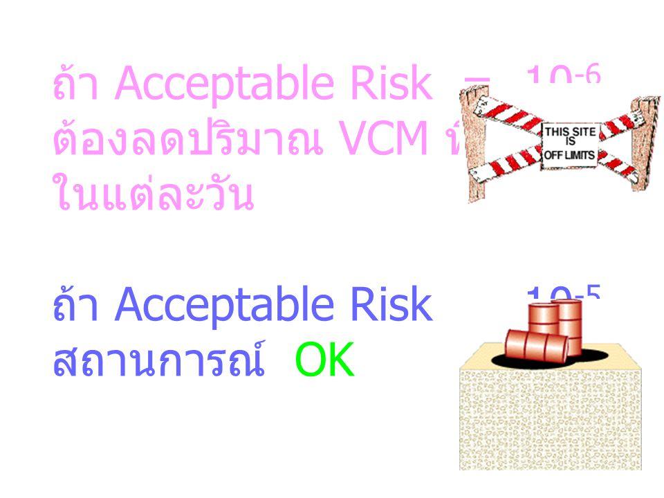 ถ้า Acceptable Risk = 10 -6 ต้องลดปริมาณ VCM ที่ได้รับ ในแต่ละวัน ถ้า Acceptable Risk = 10 -5 สถานการณ์ OK