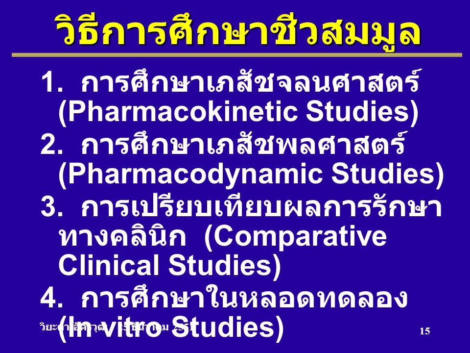 วิยะดา อัครวุฒิ 25 ธันวาคม 2551 15วิธีการศึกษาชีวสมมูล 1. การศึกษาเภสัชจลนศาสตร์ (Pharmacokinetic Studies) 2. การศึกษาเภสัชพลศาสตร์ (Pharmacodynamic S