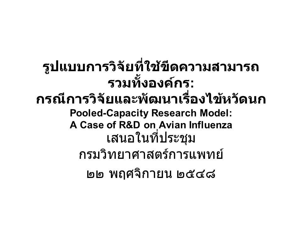 รูปแบบการวิจัยที่ใช้ขีดความสามารถ รวมทั้งองค์กร : กรณีการวิจัยและพัฒนาเรื่องไข้หวัดนก Pooled-Capacity Research Model: A Case of R&D on Avian Influenza เสนอในที่ประชุม กรมวิทยาศาสตร์การแพทย์ ๒๒ พฤศจิกายน ๒๕๔๘