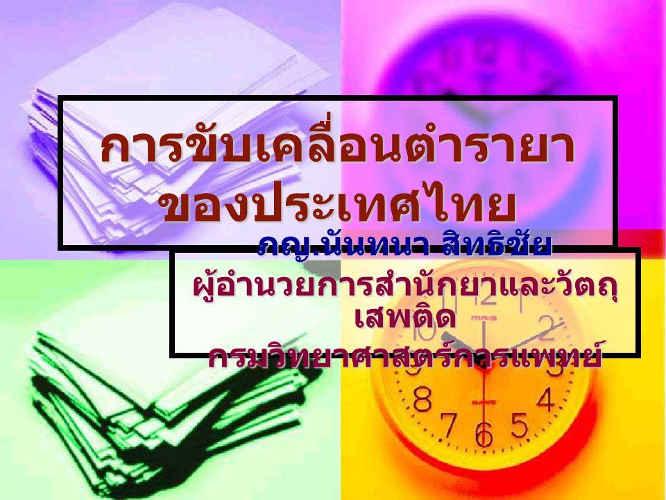 การขับเคลื่อนตำรายา ของประเทศไทย ภญ. นันทนา สิทธิชัย ผู้อำนวยการสำนักยาและวัตถุ เสพติด กรมวิทยาศาสตร์การแพทย์