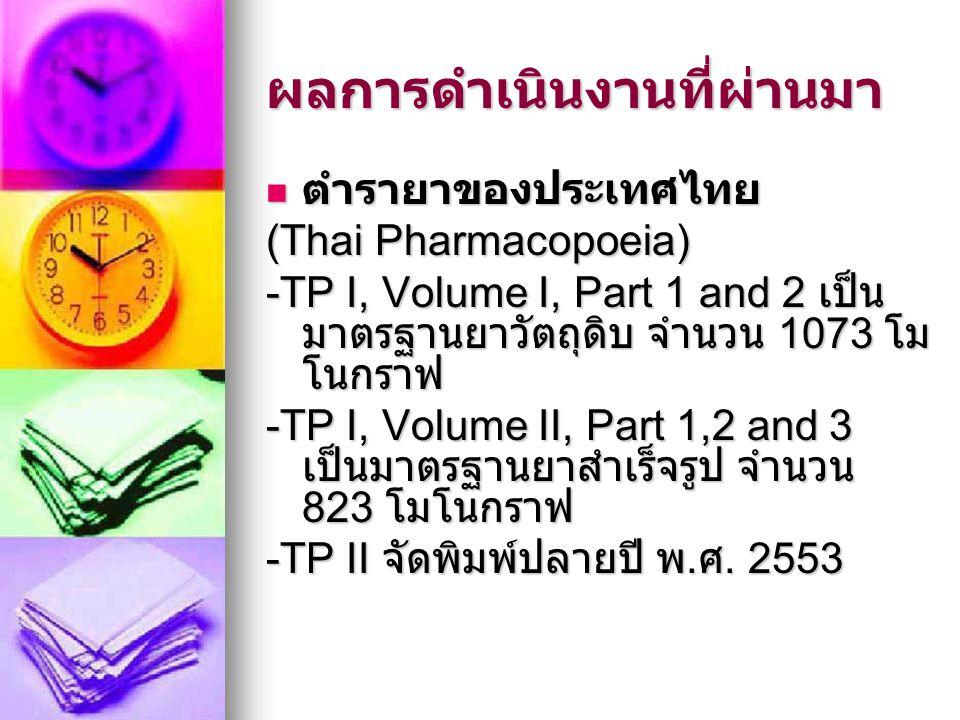 ผลการดำเนินงานที่ผ่านมา ตำรายาของประเทศไทย ตำรายาของประเทศไทย (Thai Pharmacopoeia) -TP I, Volume I, Part 1 and 2 เป็น มาตรฐานยาวัตถุดิบ จำนวน 1073 โม