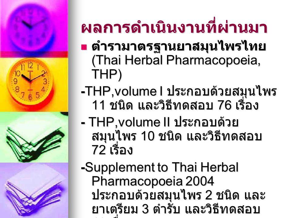 ผลการดำเนินงานที่ผ่านมา ตำรามาตรฐานยาสมุนไพรไทย (Thai Herbal Pharmacopoeia, THP) ตำรามาตรฐานยาสมุนไพรไทย (Thai Herbal Pharmacopoeia, THP) -THP,volume