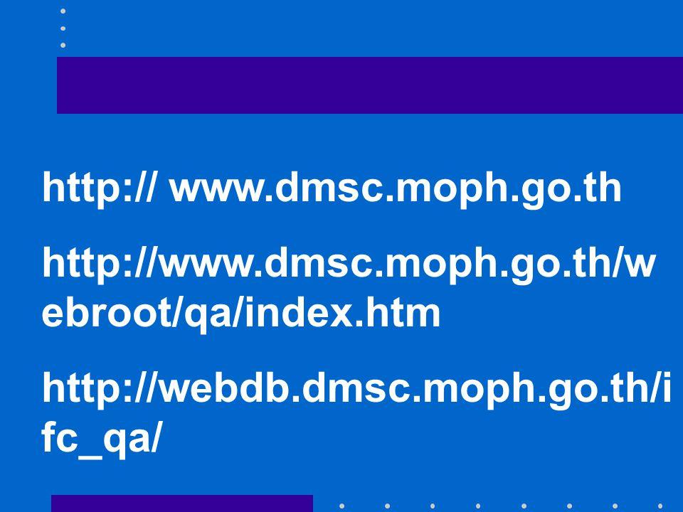 http:// www.dmsc.moph.go.th http://www.dmsc.moph.go.th/w ebroot/qa/index.htm http://webdb.dmsc.moph.go.th/i fc_qa/